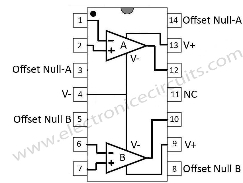 741-dual-op-amp-14-pin-configurations-top-view