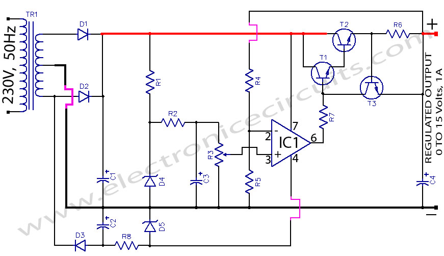 regulated power supply circuit using 741 op amp  ic and 2n3055 transistor
