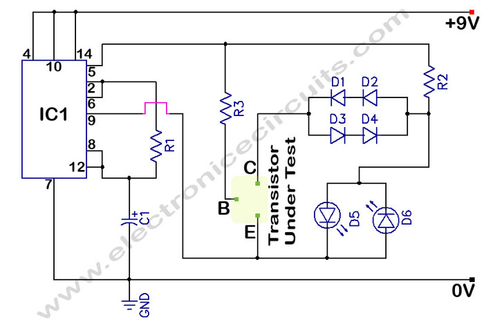 In Circuit Transistor Tester Schematic