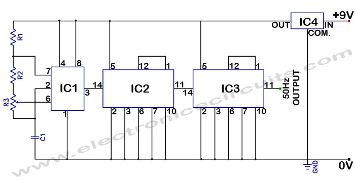 Accurate 50Hz Oscillator Circuit Using 555 And 7490 IC 50 Hz