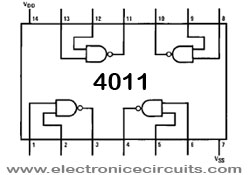 4011 Quad 2-Input NAND gate IC top view