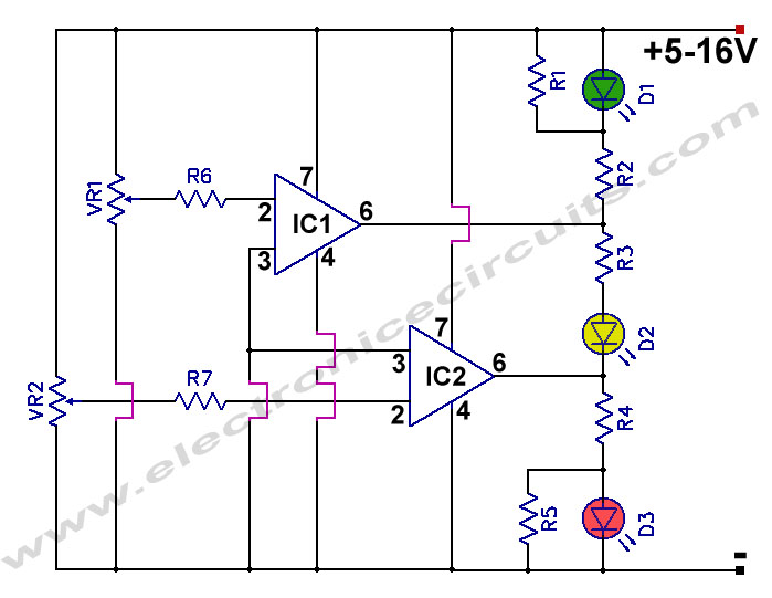 Battery Charge Nominal Discharge Low Indicator Circuit Diagram