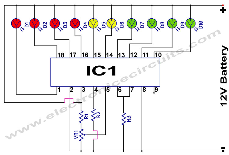 LM3914 12V Battery Monitor Circuit