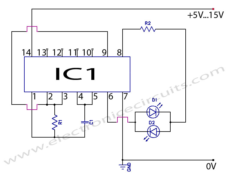 2 two LED CMOS Flasher multivibrator Circuit Diagram