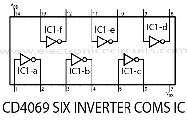 cd4069 six inverter cmos ic