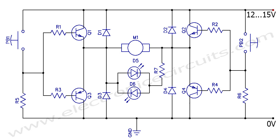 By-Direction Control of DC Motor Clockwise Anticlockwise Circuit schematic