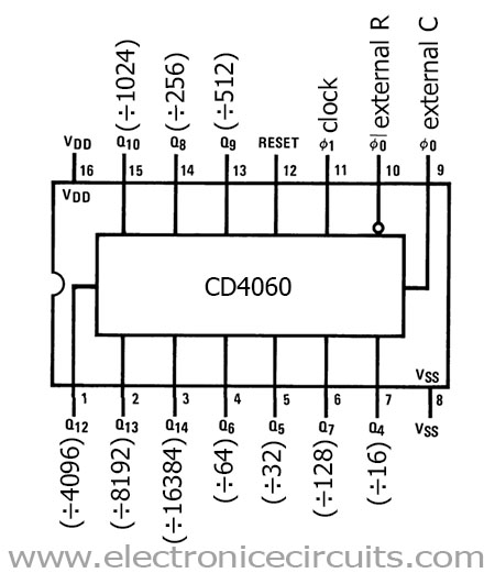 cd4060 pin configuration pinout ic