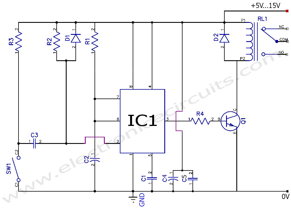 Toggle to Momentary Switch circuit diagram - 555 timer as Monostable