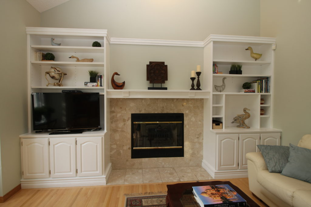 Bookcase with fireplace