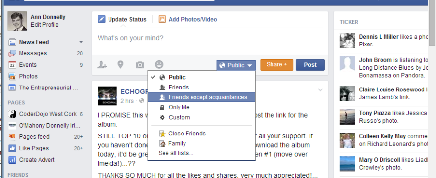 Facebook Posting Options