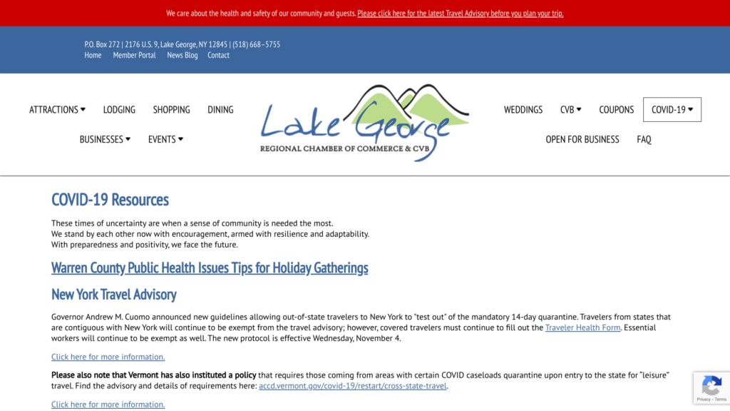 COVID-19 Resources Page on the Lake George Chamber Website