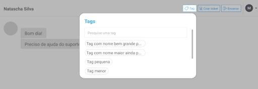 Caixa de diálogo das tags do Octadesk