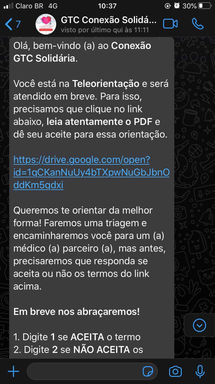 chatbot whatsapp GTC Conexão Solidária