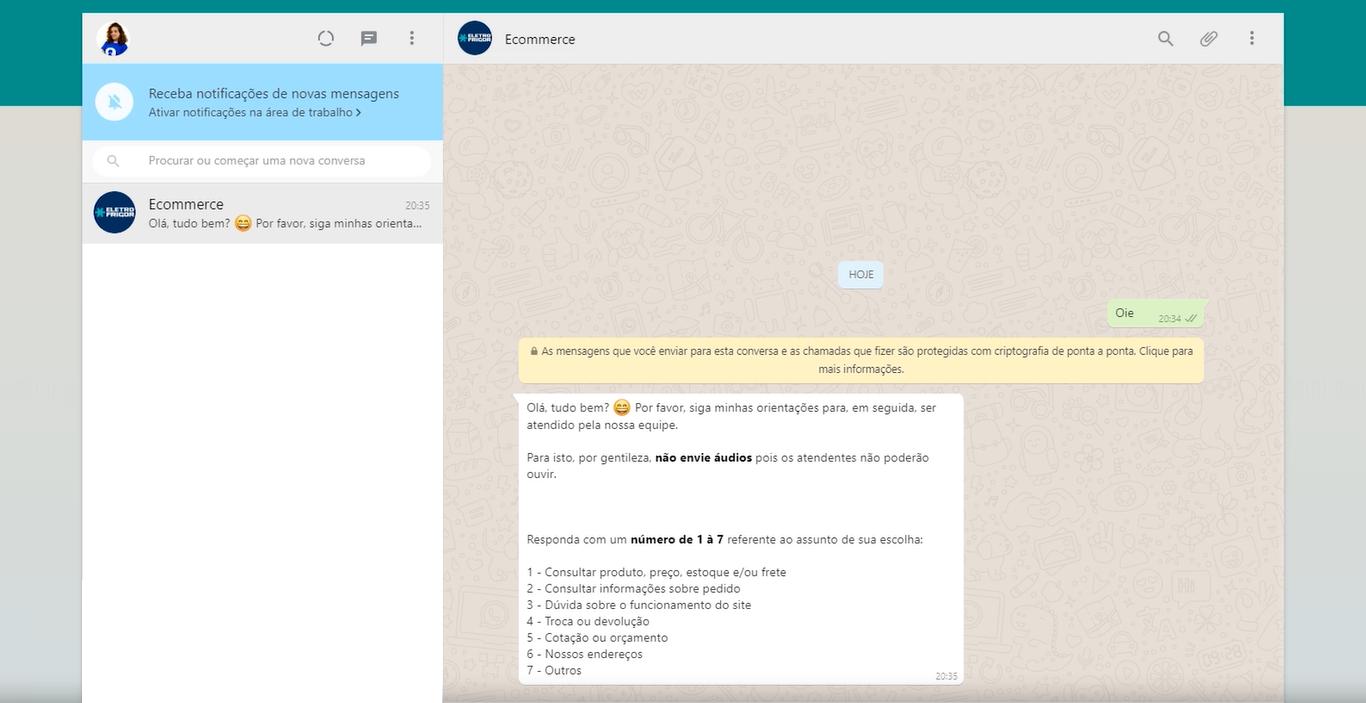 chatbot whatsapp sendo mostrado em uma conversa
