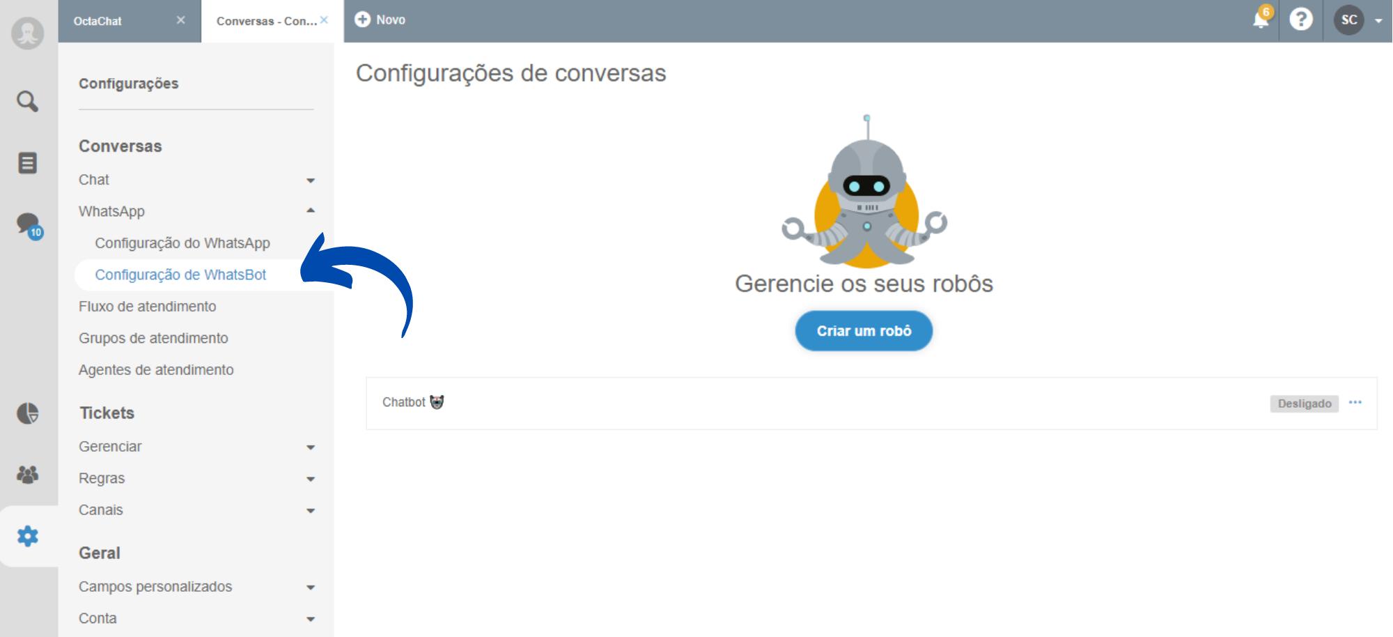 Configurações para criação do chatbot WhatsApp
