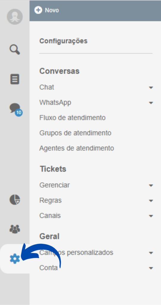 Configurações do Octadesk para criar o chatbot
