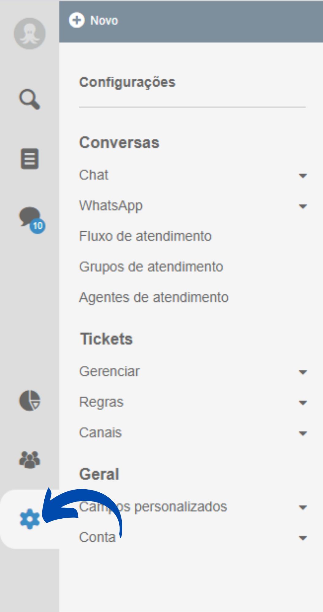 Configurações do Octadesk para criar o chatbot WhatsApp