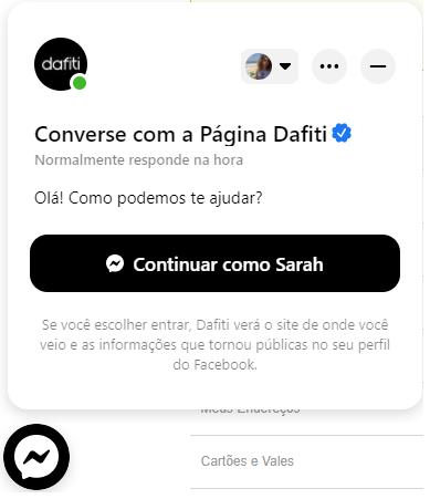 Facebook Messenger para Empresas no site