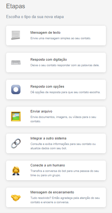 Possibilidades do chatbot messenger no Octadesk