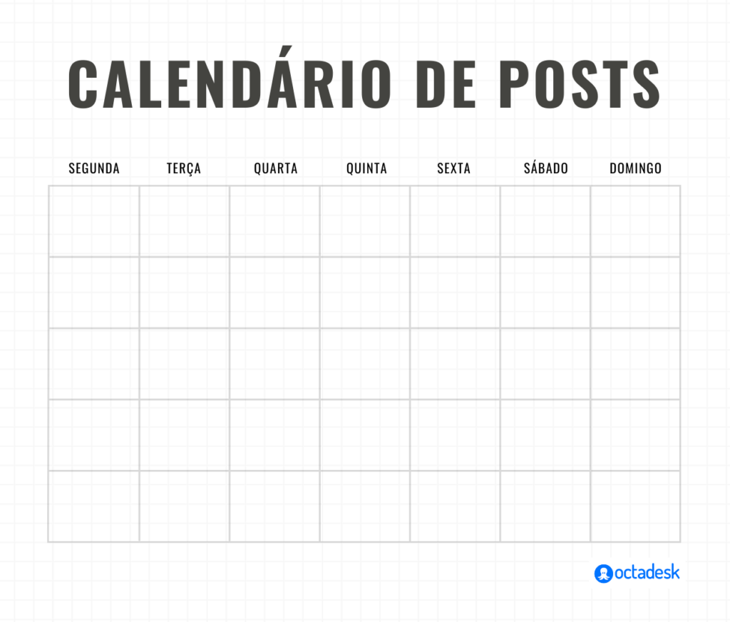calendário de posts no Instagram