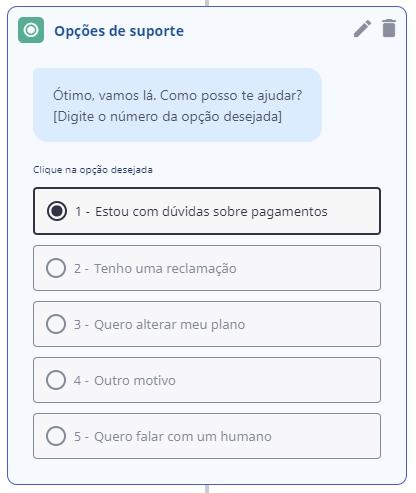 Adicione opções de autoatendimento no chatbot