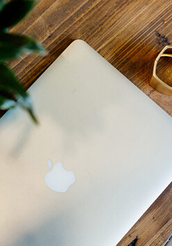 mac laptop on the table