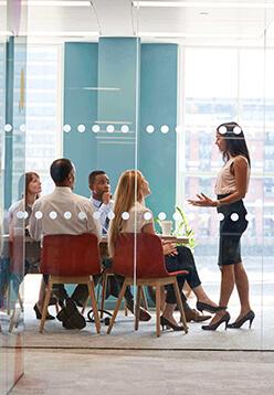 female boss at meeting