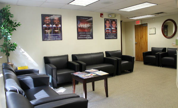 Dental waiting area in modern dentist office where kids are welcome