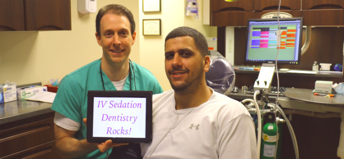 Happy sedation dental patient with amnesia and no memory of dentist procedure in Connecticut