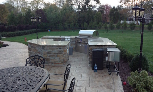 Stamped Concrete Patio with Outdoor fireplace freehold nj