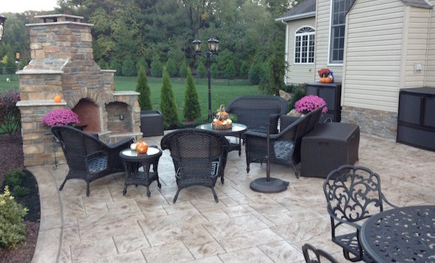 stamp concrete outdoor fire place freehold nj