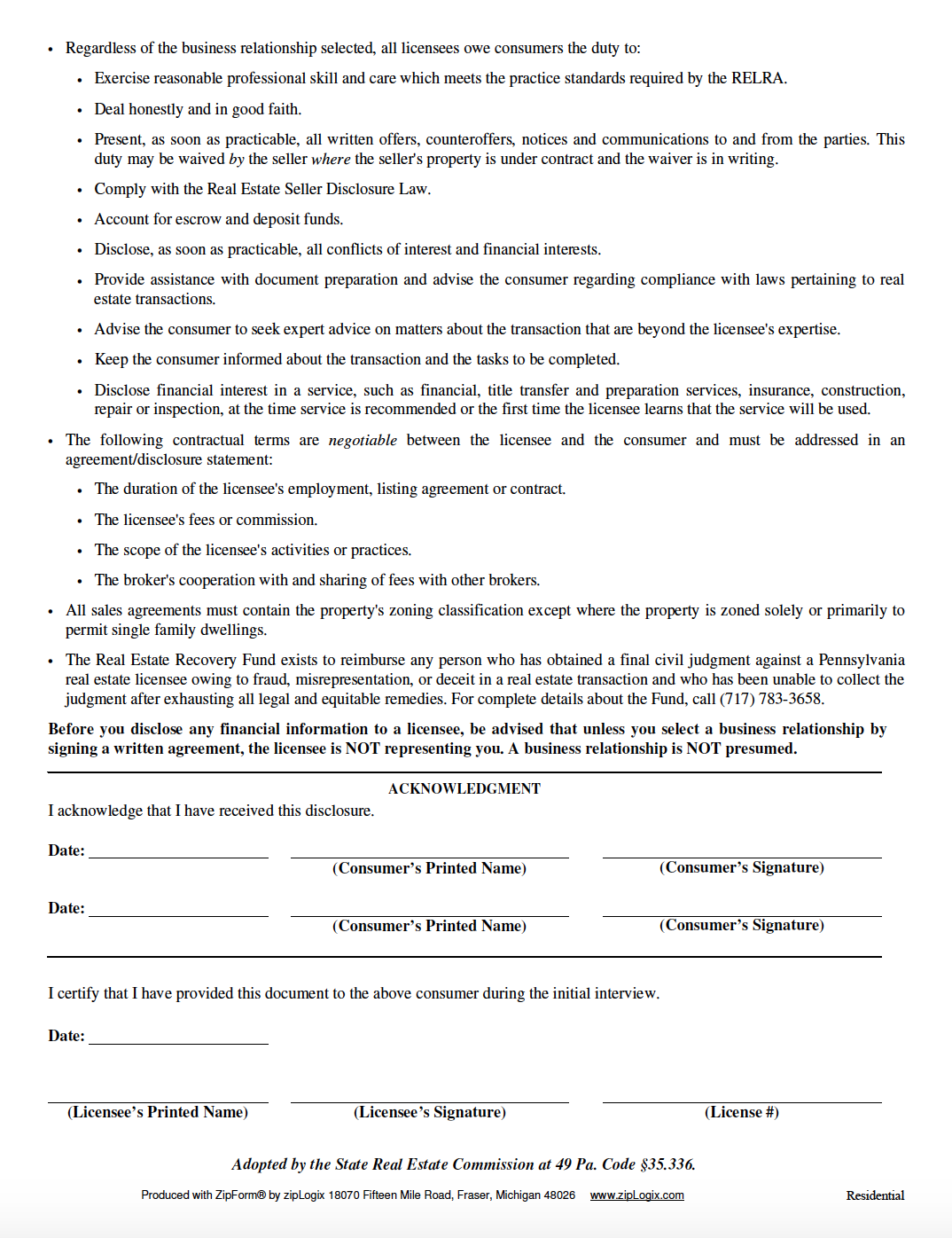 consumer notice, lake wallenpaupack real estate agent