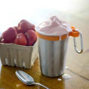 Milkshake in metal cup