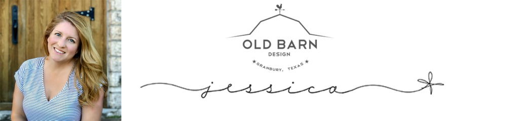 A black and white logo with a barn that says Old Barn Design, a photo of Jessica the owner in a black and white shirt in front of a rustic barn door