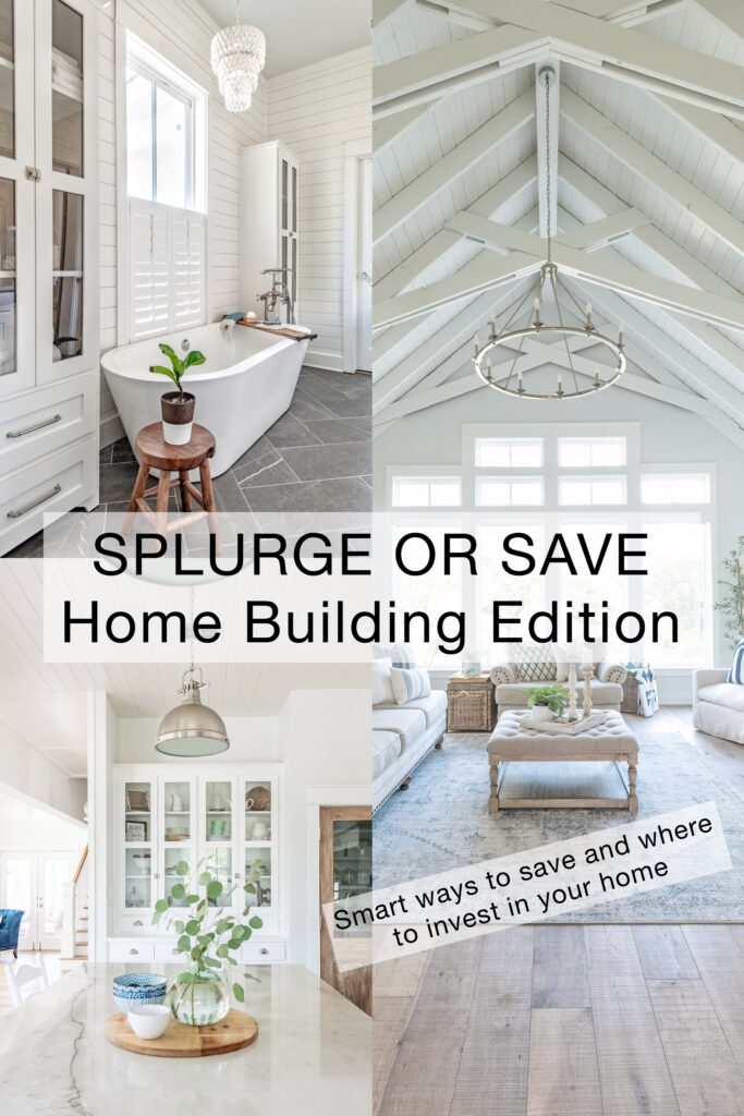 A beautiful home collage with kitchen, bathroom, and living room with vaulted ceilings
