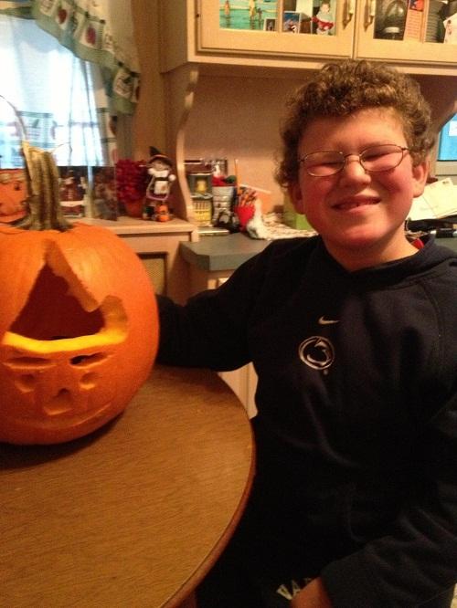 Champion Pumpkin Carver and Pediatric Stroke Surivor Nick