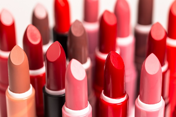 Set of lipstick tubes on  white background