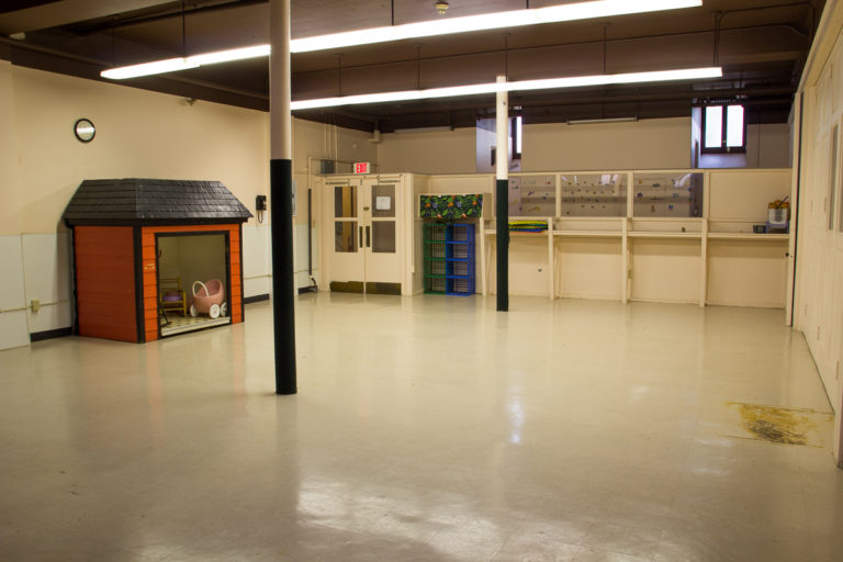 This space and adjacent areas offer a combined total of 4,355 square feet. The rooms served for more than 20 years as the home of Emmanuel Nursery School. Bathrooms with child-sized fixtures are nearby.