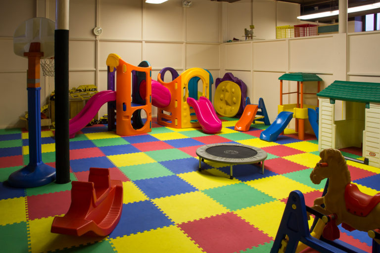Soft tiles make this space suitable for indoor play and recreation