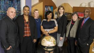 Pictured left to right: Minera, Jones, Bates, Copeland-Dansby, Hoffman, Bolton and Nelms. The Cincinnati Board of Education is the governing body for the Cincinnati Public School District. The Board is comprised of seven people elected at large by voters to four-year terms. The Board elects its president and vice president annually from among its members at the organizational meeting (usually, the first Monday in January).