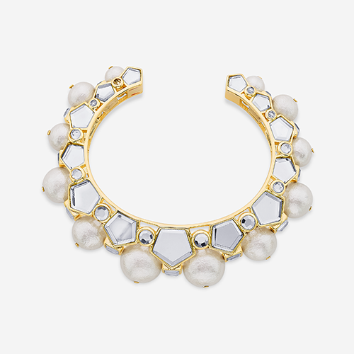 Modern Indian Pearl Jewelry On trend - Bracelets - Bombay Deco Statement Mirror and Pearl Cuff In Gold