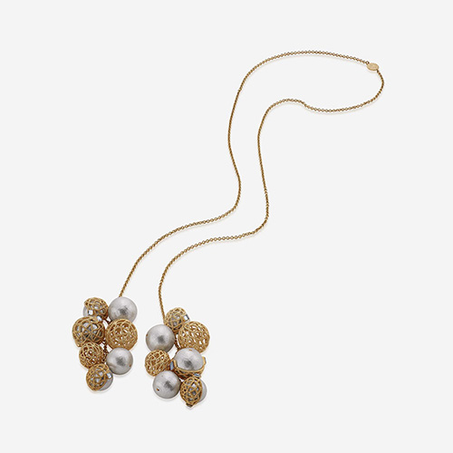 Modern Indian Pearl Jewelry On trend - Necklaces - Gypsy Soul Filigree & Pearl Cluster Lariat