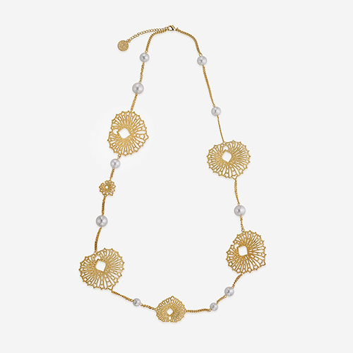 Modern Indian Pearl Jewelry On trend - Necklaces - Gypsy Soul Leaf and Pearl Flora Necklace