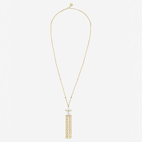 Modern Indian Pearl Jewelry On trend - Necklaces - Limelight Pearl and Tassel Necklace