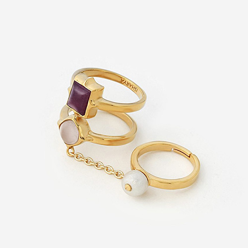 Modern Indian Pearl Jewelry On trend - Rings - Temple Muse Marsala Quartz Chain Ring