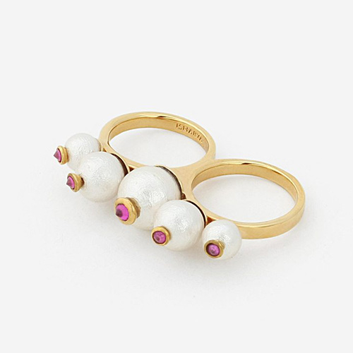 Modern Indian Pearl Jewelry On trend - Rings - Temple Muse Pearl Double Finger Ring