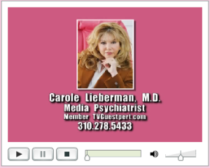 Snapshot of Dr. Carole Lieberman's radio show podcasts with contact info.