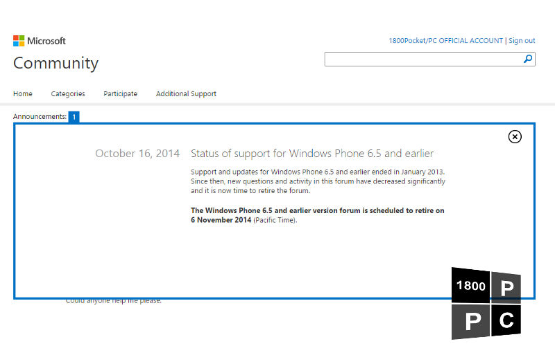 """Microsoft Giving Windows """"Phone"""" 6.5 Support Forums the Axe on November 6"""
