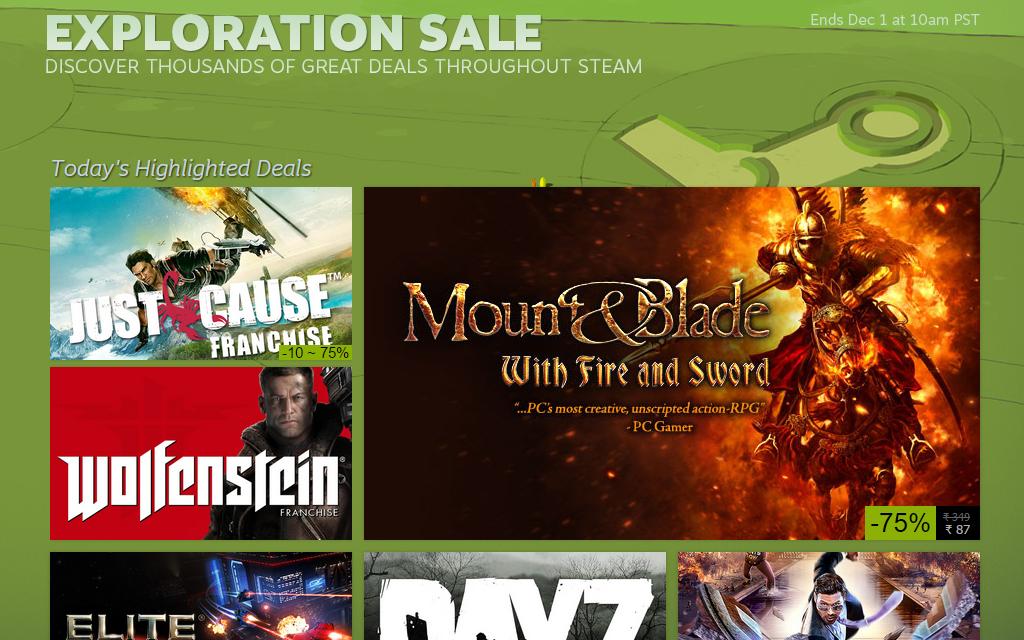 Steam Exploration Sale has begun