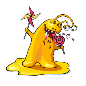 Cute cartoon slime yellow monster eating lollipop isolated on white background